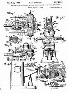 Patent Drawings For The Bridgeport Knee Mill 1939   U201c U2026that