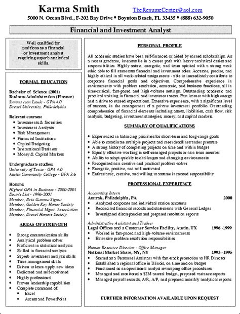 Finance Business Analyst Resume by Financial Analyst Resume Exles Sle Resume