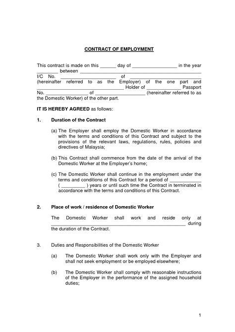 printable employment contract sample form generic