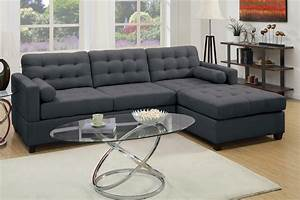poundex f7587 grey fabric sectional sofa steal a sofa With grey sectional sofa los angeles