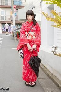 Red, Yukata, U0026, Geta, Sandals, W, Pill, Earrings, U0026, Round, Bag, In, Harajuku