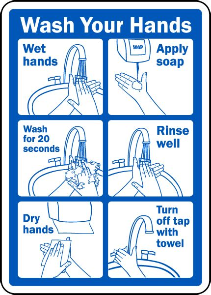 Wash Your Hands Instructions Sign D5818
