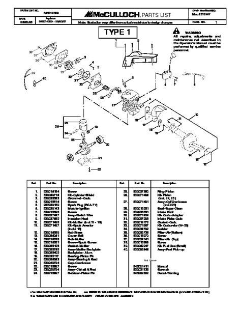 McCulloch Mac 2818AV Chainsaw Parts List