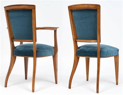 deco set of cherrywood dining room chairs at