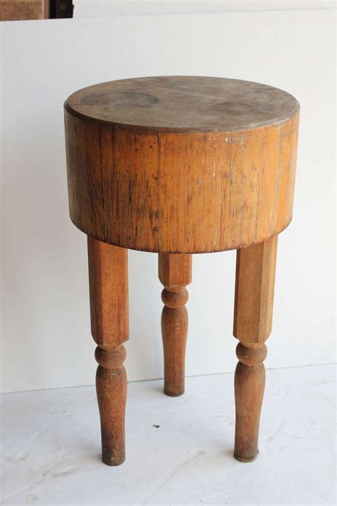 Antique Wooden Butcher Block Table  Vintage Things