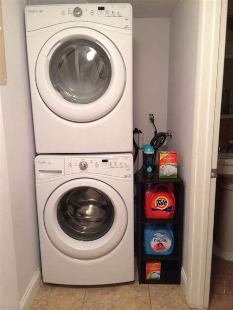 stacked washer and dryer organization for small space in