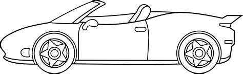 cartoon sports car side view ferrari line art free clip art