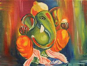 Items similar to Ganesha Oil Painting on Canvas on Etsy