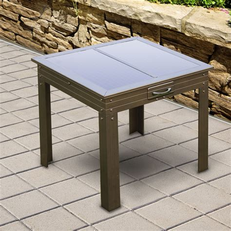 savana solar powered patio table bronze nature power