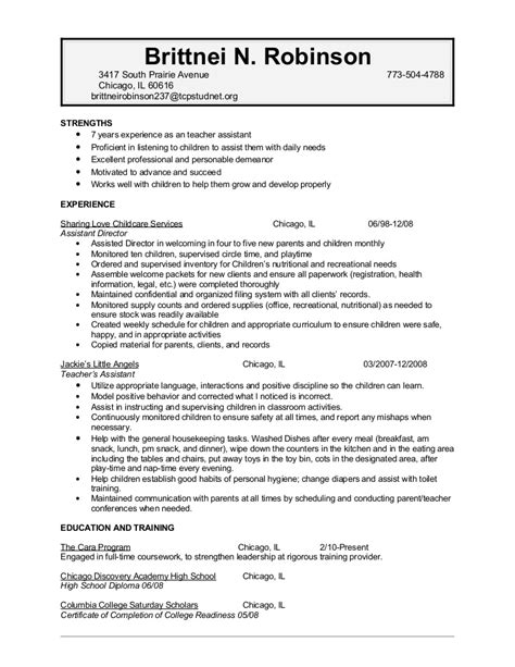 Child Care Worker Resume by Robinson Brittnei Childcare Resume