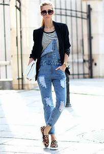 Sportliche Outfits Damen : mit was kann man blaue jeans latzhose f r damen kombinieren outfit jeans jeans latzhose ~ Frokenaadalensverden.com Haus und Dekorationen