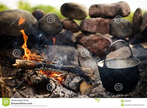 bonfire cooking cooking on the bonfire royalty free stock images image 6039839