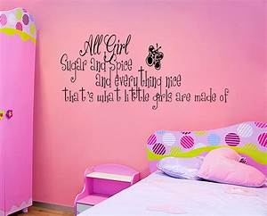 sugar and spice little girls room vinyl wall quote decal With cute little girl wall decals ideas