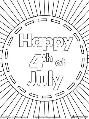happy   july burst coloring page flag coloring