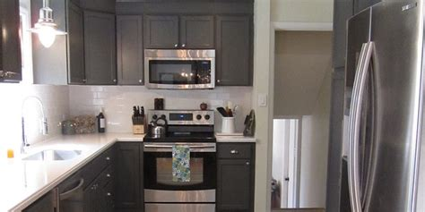Remodelaholic  Kitchen Redo With Dark Gray Cabinets