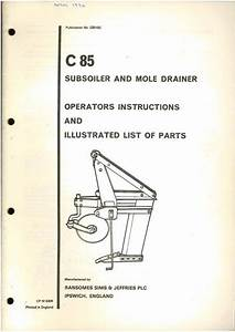 Ransomes C85 Subsoiler  U0026 Mole Drainer Operators Manual And
