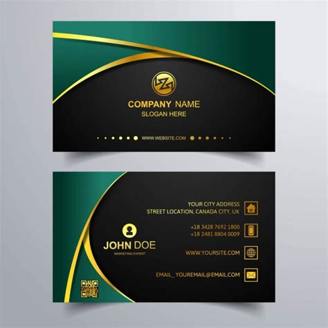 luxury business card  green background  vector