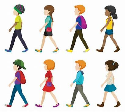 Walking Children Vector Faceless Background Vectors Clipart