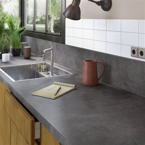 planche de travail cuisine plan de travail stratifié effet métal vieilli mat l 300 x