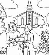 Coloring Church Pages Reading Frontyard sketch template