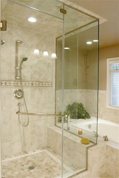 Travertine tile on shower ceiling, diagonal & straight on