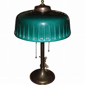 Emeralite desk or table lamp with green cased shade from