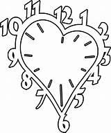 Clock Coloring Printable Vorlagen Uhr Dxf Heart Patterns Malvorlagen Scroll Saw Nachts Fleur Crafts Relogio Silhouette Colorir Wood Template Clocks sketch template