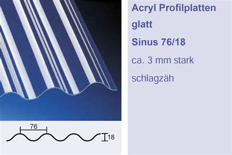 Acrylglas Küchenrückwand Günstig by 3 Mm Acrylglas Wellplatten 76 18 Sinus Klar Glatt