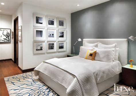 white master bedroom  gray accent wall luxe