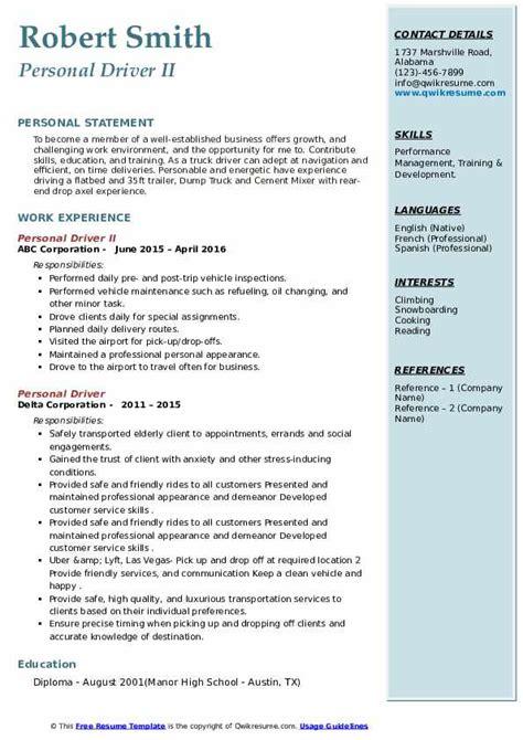 personal driver resume samples qwikresume