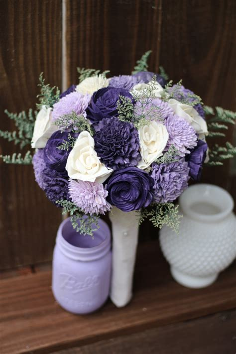 Sola Bouquet Rustic Wedding Purple Bouquet Wedding Bouquet