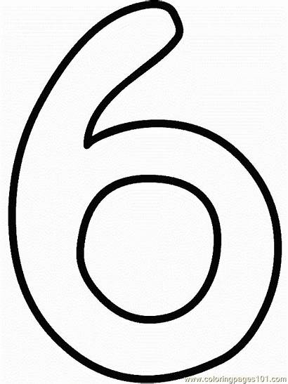 Number Coloring Printable Pages Numbers Six Coloringpages101