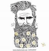 Coloring Hipster Bearded Beard Adult Vector Shutterstock Flowers Line Drawn Hand Faces sketch template