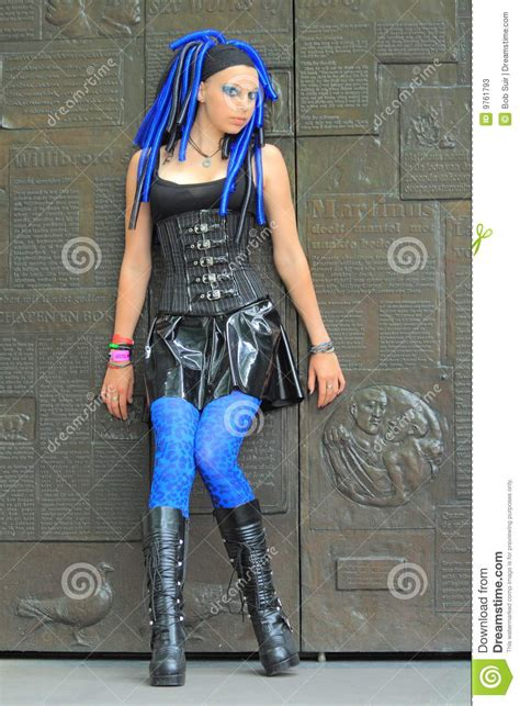 gothic outfit vinyl mini skirt stock  image