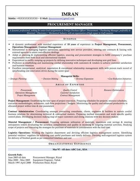 purchase manager sle resumes resume format