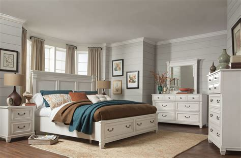 brookfield cotton white panel storage bedroom set b4056