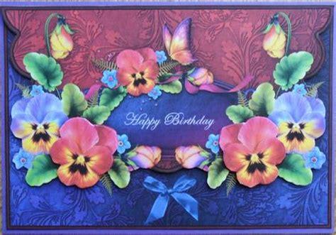 pansies  butterflies envelope card happy birthday
