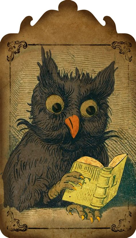 vintage owl digital hang tag call  victorian