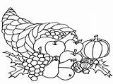 Cornucopia Coloring Pages Thanksgiving Printable Expert Celebrations Getdrawings Getcolorings Simple sketch template
