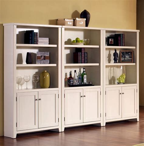 White Bookshelf With Doors by Large Bookcase With Glass Doors White Bookshelf With