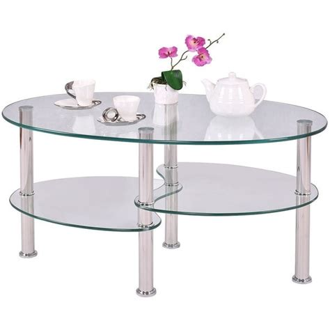 Aries modern chrome and glass top oval cocktail table. Shop Modern Oval Tempered Glass Coffee Table with Bottom Shelf - Free Shipping Today - Overstock ...