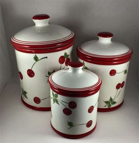 Set of 4 apple kitchen ceramic canisters creamy beige w. Home Brand Cherry Canister 3 piece Set | Ceramic kitchen canisters, French vintage kitchen, Red ...