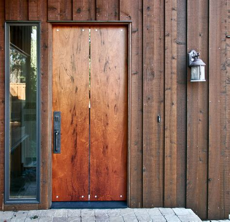 exterior wood door slab door slab modern slab wood 1 panel stained interior barn
