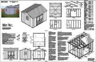 10 x12 gable storage shed plans building blueprints ebay