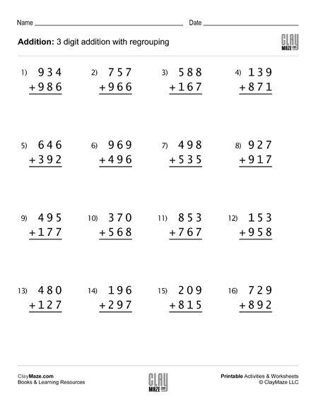 These two digit addition worksheets will give your students the practice they need to master regrouping. Third Grade - Childrens Educational Workbooks, Books and ...