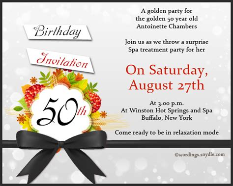 Golden Birthday Invitation Wording 50th