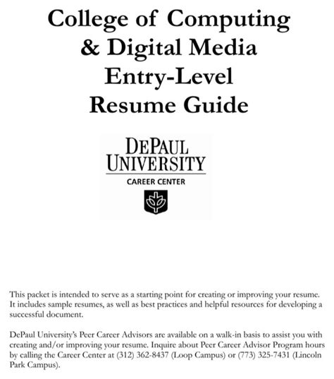 entry level resume guide depaul college of computing digital media entry level