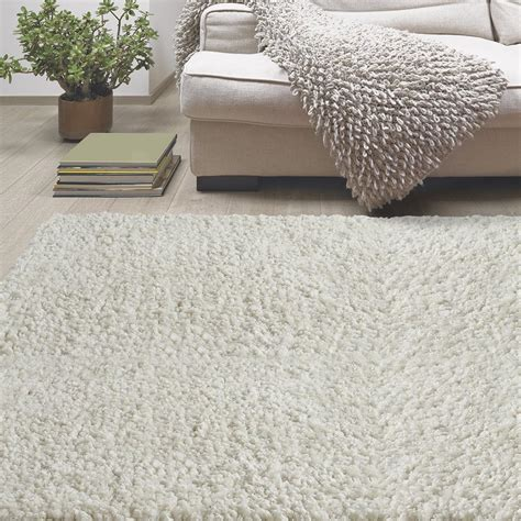 White Area Rug by Lanart Palazzo Shag White 5 Ft X 7 Ft 6 In Area Rug