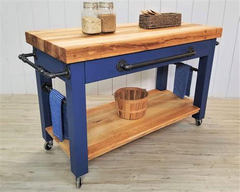 industrial farmhouse maple kitchen island cart coastal