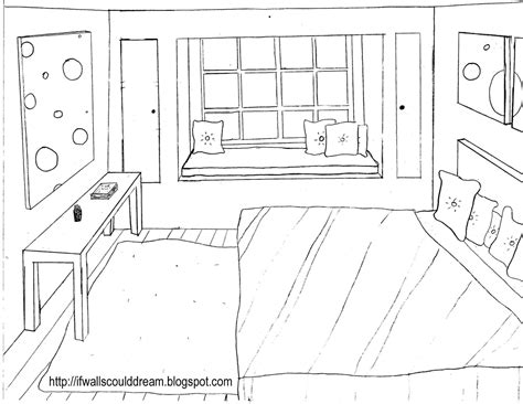 dessin chambre en perspective bedroom perspective drawing sketch coloring page